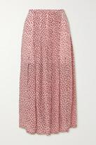 Thumbnail for your product : Rixo Georgia Pleated Printed Modal Midi Skirt - Brown