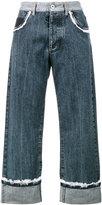 Miu Miu lace trim Blue Mid Rise Cropped jeans
