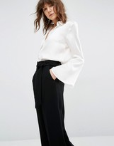 Gestuz Maiden Silk Shirt With Bell Sleeves And Buttons