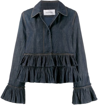 Valentino ruffle trim denim jacket