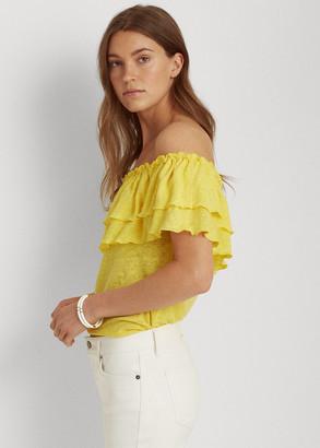 Ralph Lauren Linen Off-the-Shoulder Top