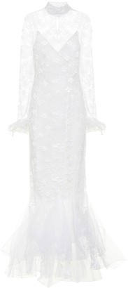 Alessandra Rich Lace high-neck bridal gown
