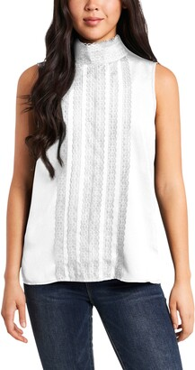 Vince Camuto Lace Detail Sleeveless Crepe de Chine Blouse