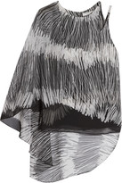 Halston One-shoulder printed chiffon top