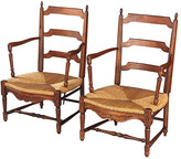 One Kings Lane Vintage Pair of Provencal Rush Seat Armchairs - Negrel Antiques - brown