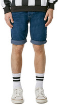 Topman Slim Fit Denim Shorts (Dark Blue)