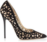 Jimmy Choo ANOUK Black Laser Cut Suede and Nude Mirror Leather on Mesh Pointy Toe Pumps