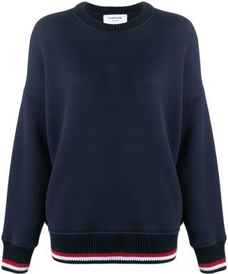 Thom Browne Oversized Crew Navy Sweatshirt