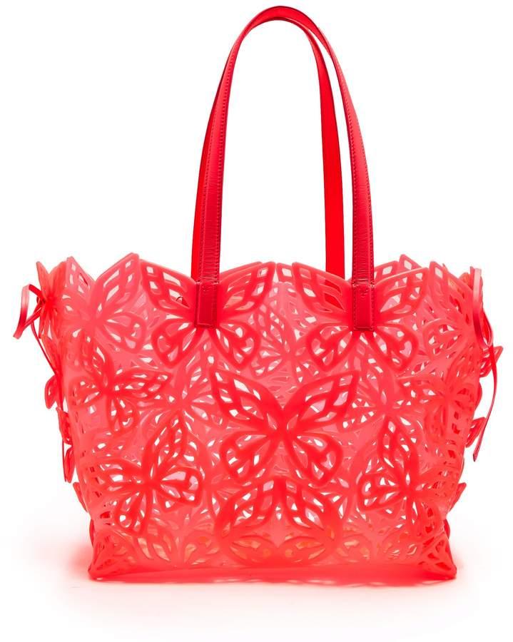 Sophia Webster Liara laser-cut leather-trimmed tote bag