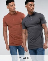 Asos 2 Pack Longline Muscle Polo Shirt In Gray/Red SAVE