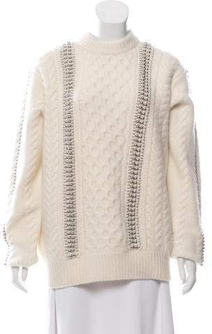 Alexander Wang Embellished Cable Knit Sweater