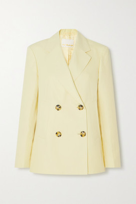 REMAIN Birger Christensen Debbie Double-breasted Cotton And Linen-blend Blazer - Pastel yellow