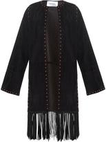 Valentino Stud-embellished fringed suede coat