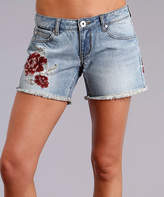 Stetson Blue Embroidered Flower Shorts