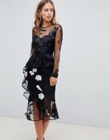 Asos Design DESIGN long sleeve midi dress with embroidered flowers and ruffle detail