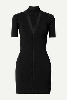 Cushnie Ribbed Stretch-knit Turtleneck Mini Dress - Black
