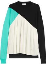 Vionnet Pleated Silk-Paneled Wool, Cashmere And Silk-Blend Fleece Top