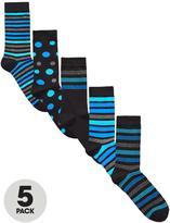 Very 5 Pk Spot & Stripe Socks Multi