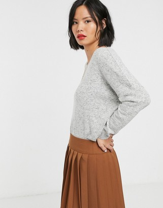 Only knitted wide neck jumper-Grey