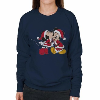 Disney Christmas Mickey Minnie Mouse Santa Outfit Kiss Women's Sweatshirt Navy Blue