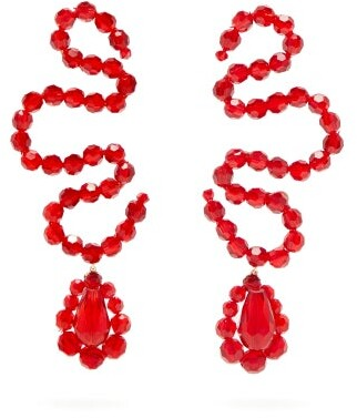 Simone Rocha Wiggle Beaded Earrings - Womens - Red