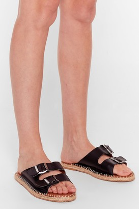 Nasty Gal Womens You Know the Espadrille Faux Leather Sandals - Black
