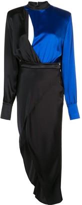 David Koma Ruched Detail Asymmetric Dress