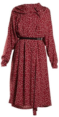 Balenciaga Paisley-print Midi Dress - Womens - Burgundy Print