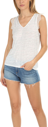 Majestic Filatures Linen Lace V Neck Tank