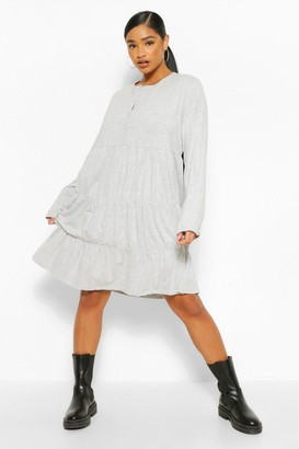 boohoo Plus Button Detail Tiered Smock Dress