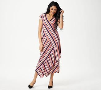 Du Jour Striped Wrap Knit Midi Dress