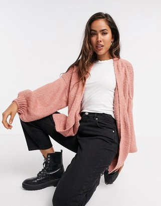 ASOS DESIGN oversize cardigan in dusky pink