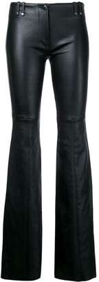 Plein Sud Jeans Flared Leather Trousers