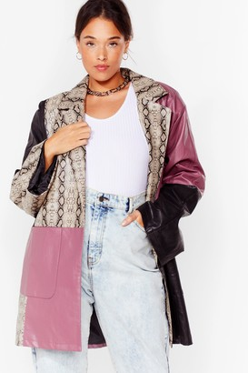 Nasty Gal Womens Met Your Patch Plus Snake Faux Leather Jacket - Black - 16