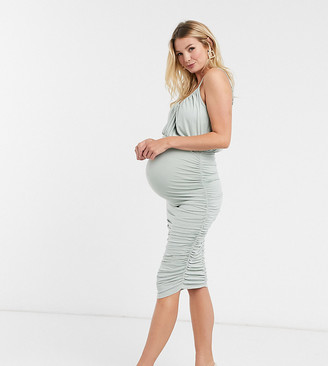 ASOS DESIGN Maternity cami plunge blouson bodycon midi dress in sage green