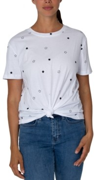 Rebellious One Juniors' Cotton Star-Print Knot-Front T-Shirt