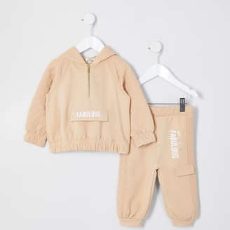 River Island Mini girls Brown 'Always fabulous' sweat set