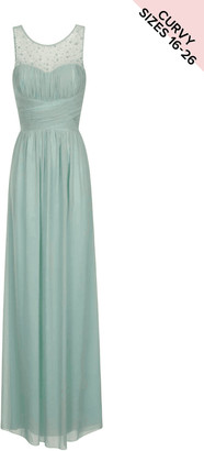 Little Mistress Curvy Little Mistress Sage Embellished Mesh Maxi Curve