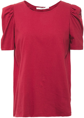 BA&SH Ruched Split-back Cotton-jersey T-shirt