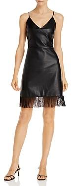 Lucy Paris Faux Leather Fringe Mini Dress