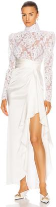 Alessandra Rich Silk Satin High Neck Embroidered Gown in White | FWRD