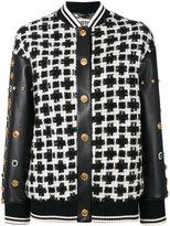 Fausto Puglisi studded sleeve bomber jacket - women - Lamb Skin/Acrylic/Polyamide/Virgin Wool - 36