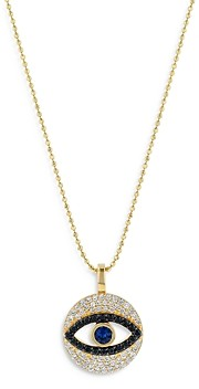 Bloomingdale's Sapphire, White & Black Diamond Evil Eye Pendant Necklace in 14K Yellow Gold, 18 - 100% Exclusive