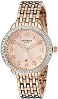 Akribos XXIV Women's AK831RG Quartz Movement Watch with Rose Gold Dial Featuring a Crystal Filled Bezel and Bracelet