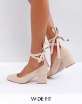 London Rebel Wide Fit Tie Ankle Mid Heel Shoe