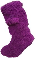 Co-zees Ladies Girls Sherpa Fleece Slipper Booties with Gripper Sole and Pom Poms, one size