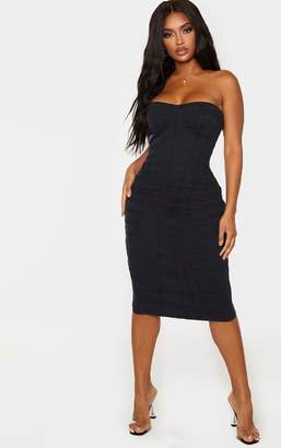 PrettyLittleThing Shape Black Denim Corset Detail Midi Dress