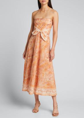 Zimmermann Brighton Tie-Waist Paisley Midi Dress