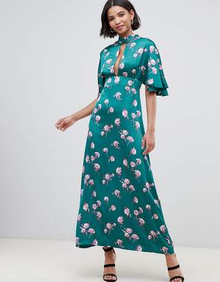 Liquorish kimono sleeve maxi dress with keyhole and in floral print-Green