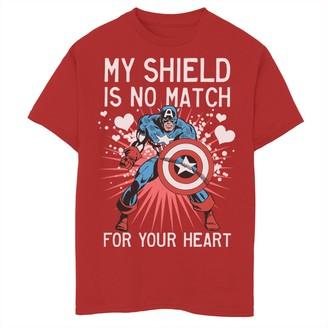Marvel Boys 8-20 Captain America Shield Heart Valentine Tee